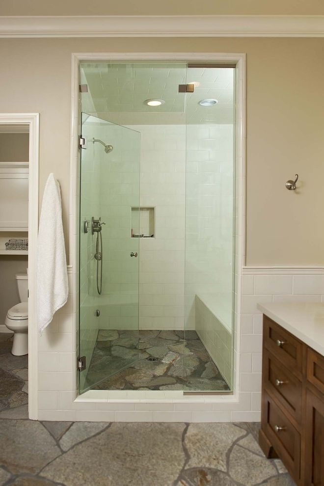 Steam Mop Laminate Floors   Eclectic Bathroom Also Glass Shower Door Shower Stone Stone Floor Tiled Wall Vanity