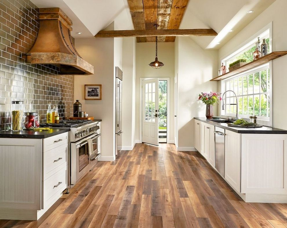 Steam Mop Laminate Floors with Farmhouse Kitchen  and Pendant Light Vent Hood White Kitchen Window Wood Beam Wood Ceiling