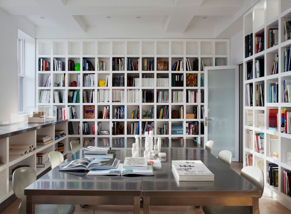 T&a Supply   Modern Home Office  and Bookshelves Built in Shelves Ceiling Treatment Chairs Coffered Ceiling Cubbies Desk Frosted Glass Door Hardwood Floor Library Reading Room Recessed Lighting White Wall Window