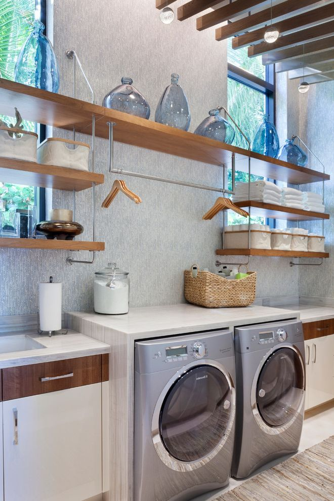 T&a Supply with Contemporary Laundry Room Also Basket Clothes Hangers Glass Canisters Hanging Rod Jugs Laundry Storage Open Shelves Towels Windows