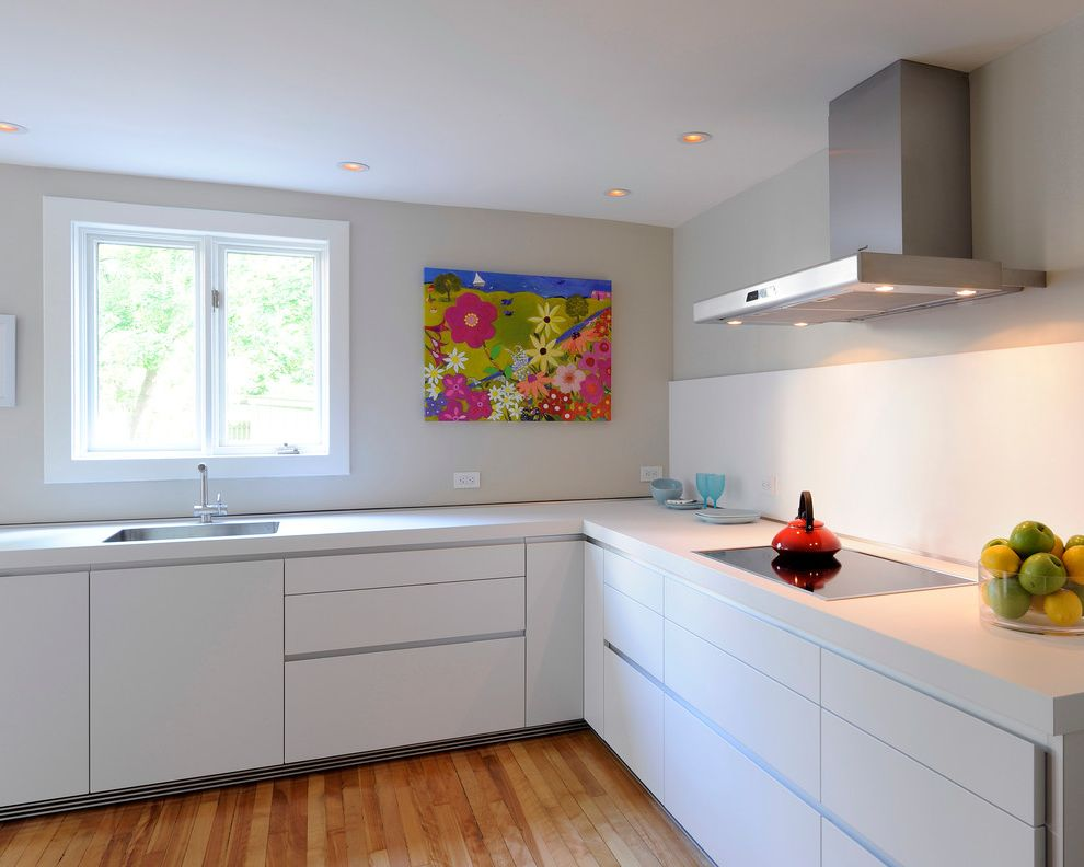 T&a Supply with Modern Kitchen  and Bright Clean Colorful Wall Art Cooktop Crisp Fresh Gray Wall Kitchen Modern Range Hood Red Teapot Serene White Backsplash White Cabinets White Countertop White Drawers White Kitchen White Window Trim Wood Floor