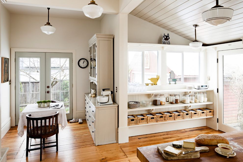 T&a Supply with Transitional Kitchen  and Antiques Creative Growth Art Center Artwork Custom Butcher Block Table Island Naiive Art Open Shelving Repurposed Salvage Schoolhouse Lighting Upcycled Vintage