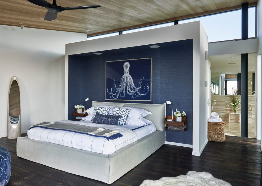 Target Night Stand   Beach Style Bedroom Also Accent Wall Beach House Beach Living Blue and Gray Blue and Grey Ceiling Fan Clerestory Windows Grasscloth Montauk Octopus Organic Space Wall Art Wood Panel Ceiling