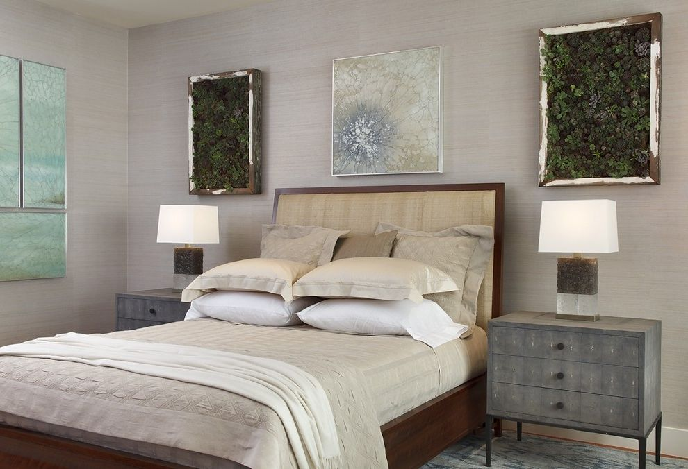 Target Night Stand with Eclectic Bedroom Also Bed Pillows Bedside Table House Plants Living Wall Monochromatic Neutral Colors Nightstand Table Lamp Wall Art Wall Decor Wallcoverings