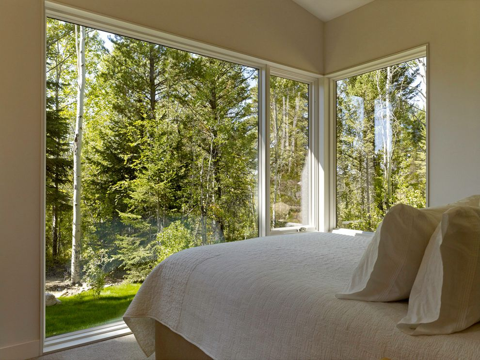 Thompson Creek Windows   Contemporary Bedroom  and Beige Bedspread Beige Walls Landscape Neutral Colors Picture Windows View Window Trim