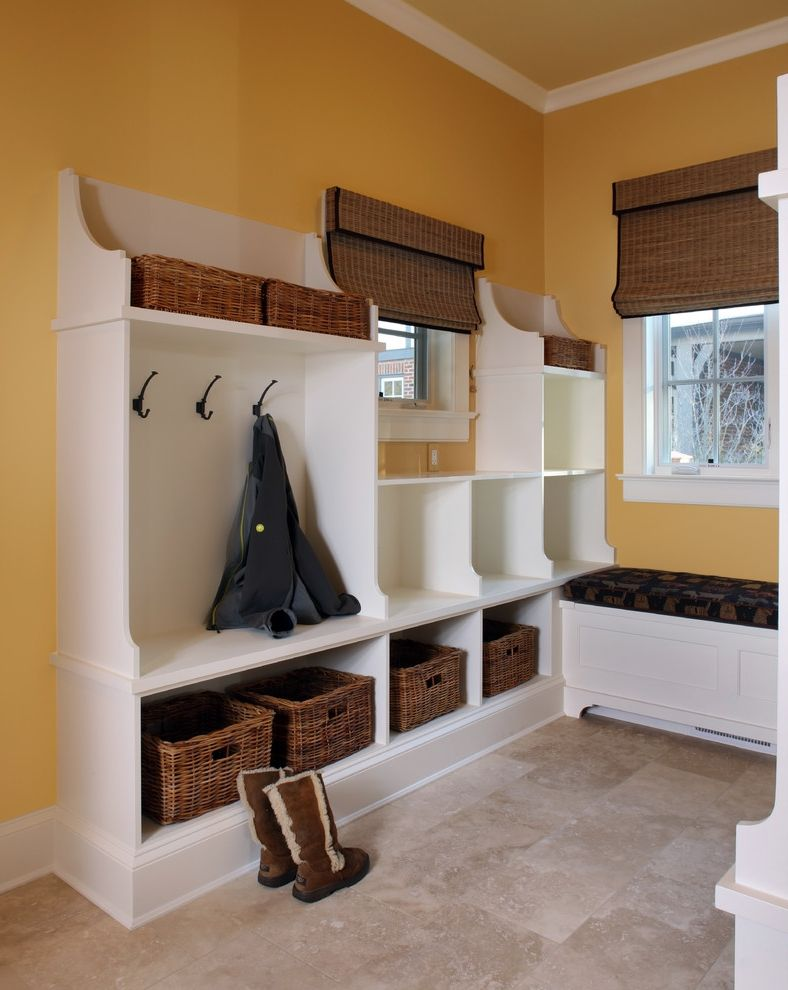 Toe Kick Heater with Contemporary Entry  and Base Board Basket Storage Bench Cushion Bench Seat Coat Hooks Crown Molding Mud Room Tile Floor White Painted Wood Woven Blinds Yellow Walls