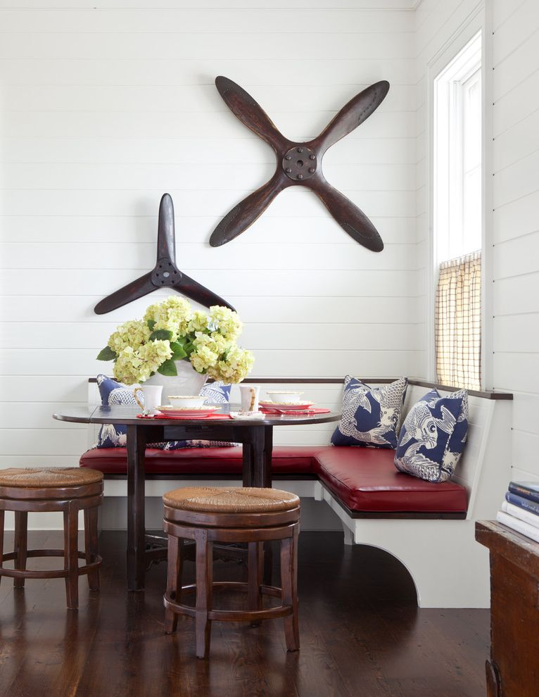 Toe Kick Heater with Traditional Dining Room  and Banquette Seating Cafe Curtain Dark Stained Wood Hydrangea Propeller Red Upholstered Cushions Rush Seat Tongue and Groove White Painted Wood Wide Plank Floor Wood Walls Woven Stools