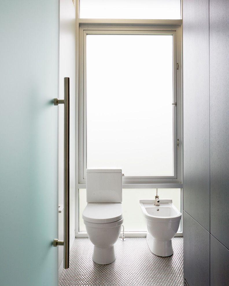 Toilet Bidet Combo   Contemporary Bathroom  and Aluminum Bathroom Tile Bidet Casement Windows Floor Tile Frosted Glass Glass Wall Minimal Mosaic Tile Neutral Colors Penny Tiles