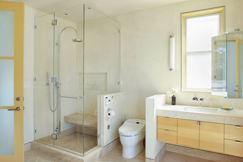 Toilet Bidet Combo   Contemporary Bathroom  and Bench in Shower Floating Vanity Frosted Glass Door Glass Shower Modern Door Shower with Bench Vanity Wood Vanity