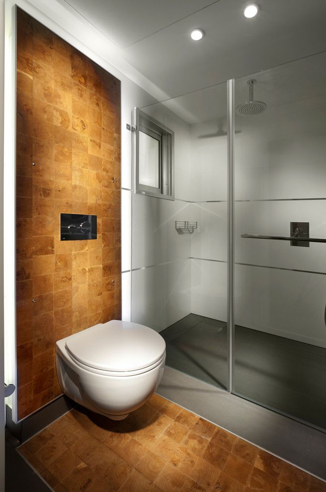 Toilet Bidet Combo   Modern Bathroom Also Ceiling Lighting Frameless Shower Glass Shower Glass Wall Minimal Rain Shower Head Shower Fixtures Wall Mounted Toilet Wood Flooring Wood Wall