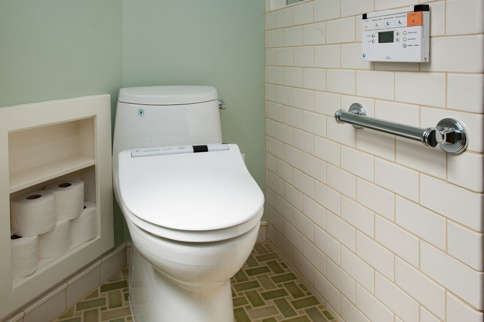 Toilet Bidet Combo with Traditional Bathroom  and Accessible Ada Bath Bathroom Bidet Bidet Seat Grab Bar Green Green Tile Niche Nook Tile Toilet Toto Universal Universal Design Vanity Washlet Wheelchair Wheelchair Accessible