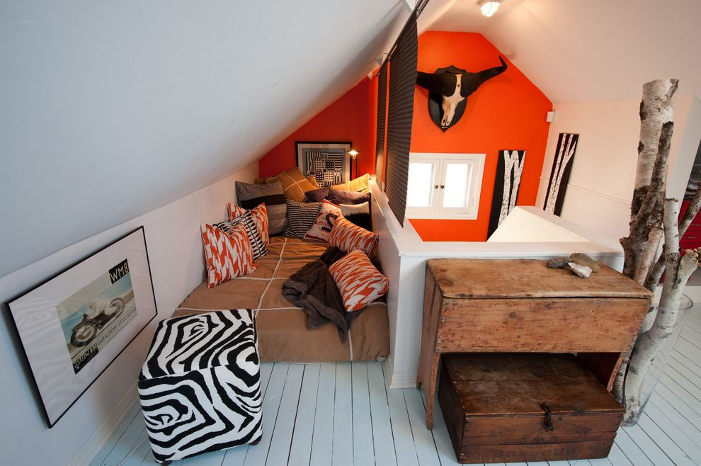 Twin Mattress Set Big Lots with Rustic Kids  and Attic Birch Branches Loft Orange Wall Painted Wood Rustic Sloped Ceiling Vaulted Ceiling Wood Flooring