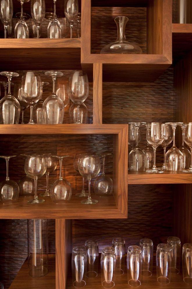 Unique Champagne Glasses   Contemporary Kitchen  and Barware Collection Kitchen Shelves Stemware Wine Glass Storage Wood Cabinets