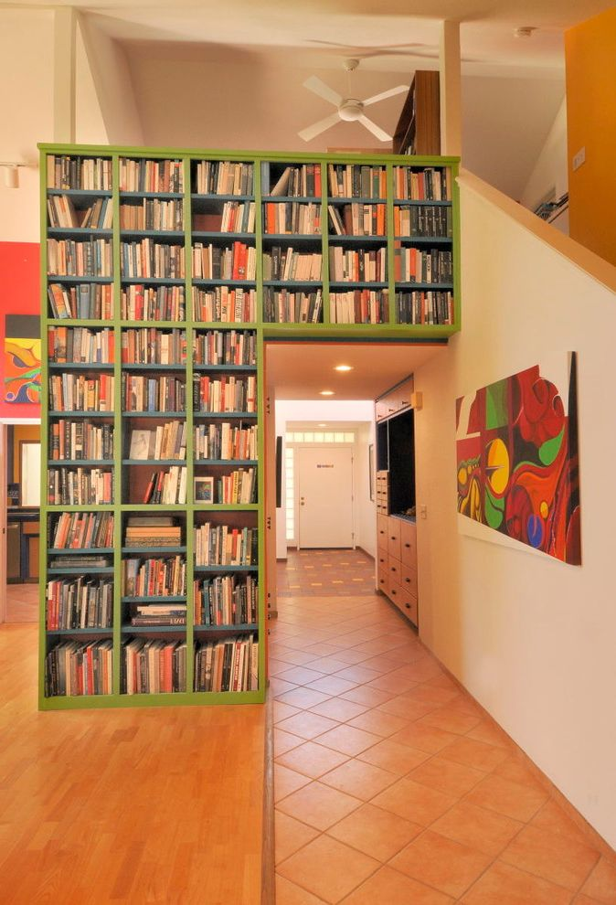 Unusual Bookcases   Eclectic Hall  and Bookcase Bookshelves Built Entry Functional Green Hallway in Large Storage Tall Tile Floor Wall Art Wood Floors