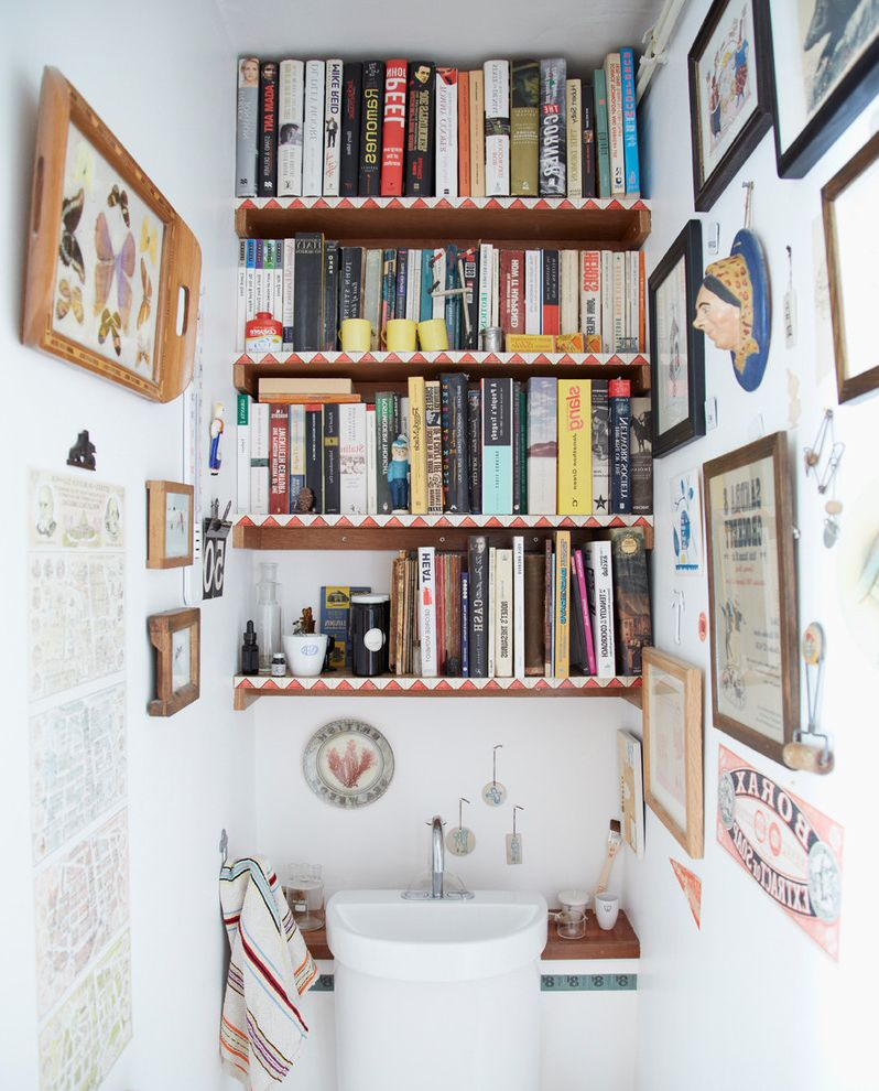 Unusual Bookcases   Eclectic Powder Room  and Book Shelf Cloakroom Downstairs Toilet Ecletic Shelves Small Sink Wall Art Wc