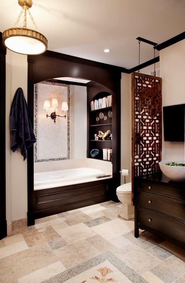 Unusual Bookcases   Traditional Bathroom  and Accent Tile Bathing Alcove Bathing Nook Bathroom Shelves Bathroom Tile Dark Wood Freestanding Vanity Neutral Colors Skylight Tile Floor Tile Strip Vessel Sink Wood Paneling