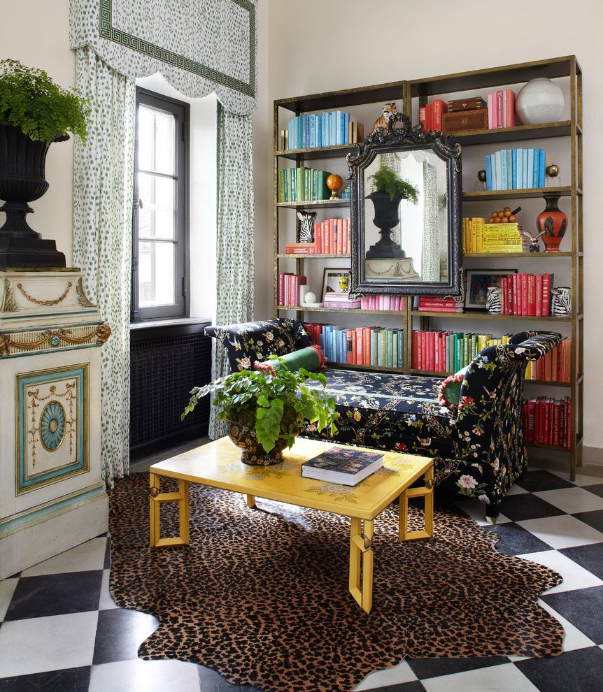 Unusual Bookcases with Eclectic Home Office Also Animal Print Black and White Floor Bookcase Bookcases Bookshelves Chintz Curtains Decorative Garden Urns Design Drapes Harlequin Floor Interior Showhouse Window Treatments