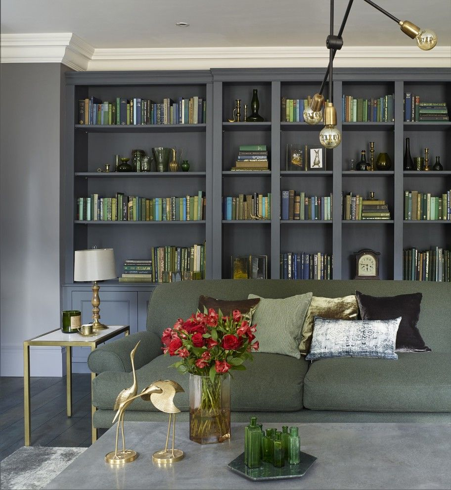 Unusual Bookcases with Transitional Living Room Also Book Storage Cornices Moldings Drawing Room Gold Accents Gold Side Table Grey Sofa Industrial Lighting Library Living Room Master Ensuite Purple Book Cabinet Traditional Living Room