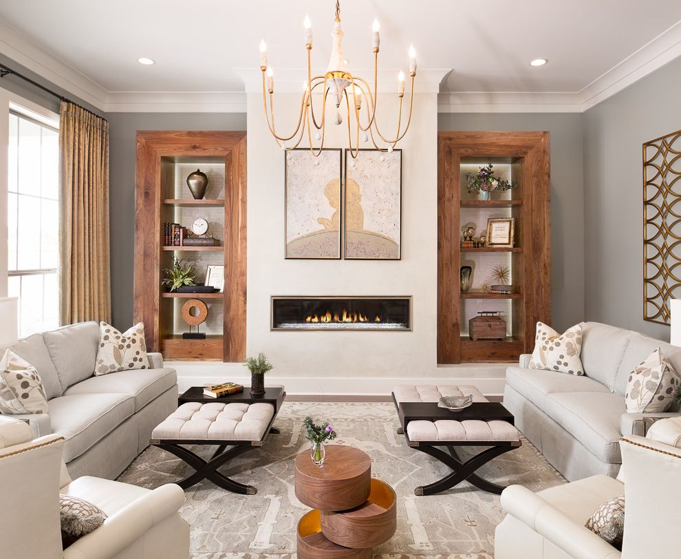Unusual Bookcases with Transitional Living Room Also Built in Bookcases Candle Chandelier Cream Sofa Firepalce Focal Point Ottoman Coffee Table Ribbon Firepalce Wall Art Wood Framed Bookcase