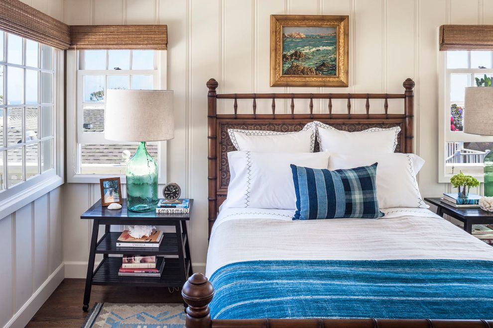 Used Furniture Fort Collins with Beach Style Bedroom Also Bamboo Shades Blue Bedding Gilt Framed Painting Green Glass Lamp Wooden Headboard