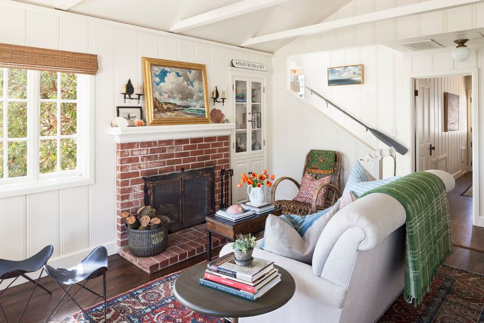 Used Furniture Fort Collins with Beach Style Living Room Also Bamboo Shades Brick Fireplace Eclectic Firewood Storage Oar Hand Rail Oriental Carpet White Couch