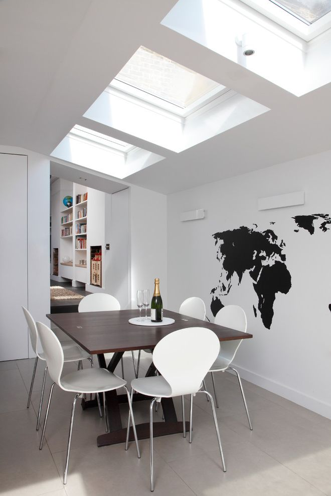 Velux Skylight Sizes   Contemporary Dining Room Also Architecture Contemporary Extension Kitchen London Map of the World Renovation Three Skylights Victorian House Wall Mural White Dining Chairs