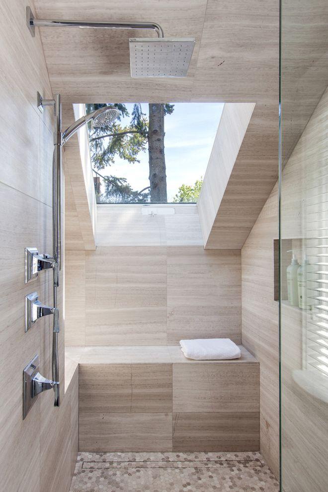 Velux Skylight Sizes   Transitional Bathroom Also Beige Shower Wall Beige Tile Floor Beige Tile Wall Beige Wall Large Shower Open Shower Rain Showerhead Shower Bench Skylight Walk in Shower