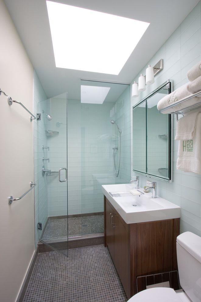 Velux Skylight Sizes with Contemporary Bathroom Also Double Sink Glass Shower Glass Tile Gray Medecine Cabinet Sconces Sky Light Skylight Tile Towel Rods Train Rack Vanity