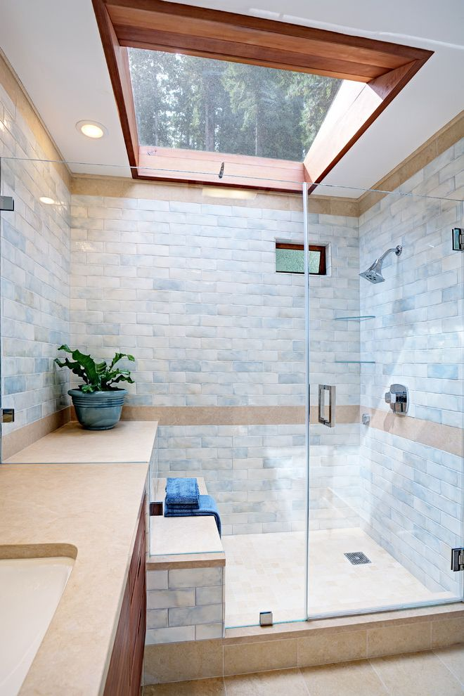 Velux Skylight Sizes with Contemporary Bathroom Also Indoor Plants Natural Light Recessed Lighting Shower Seat Skylights Spa Like