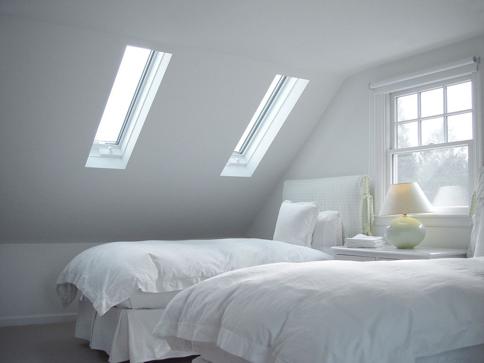 Velux Skylight Sizes with Contemporary Bedroom Also Attic Minimal New England Shared Bedroom Skylights Slipcovers Twin Beds Upholstered Headboards Vaulted Ceiling Vermont White Bedding White Bedroom