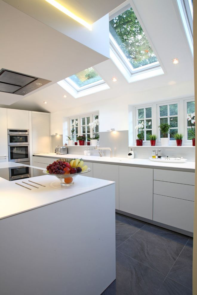 Velux Skylight Sizes with Contemporary Kitchen  and Backsplash Bulthaup Bulthaup B3 Bulthaup Kitchen Bulthaup Kitchens Contemporary Cupboards Contemporary Dining Room Corian Gaggenau Induction Hob Minimal Cupboards Sky Lights Stainless Steel Tile Floor