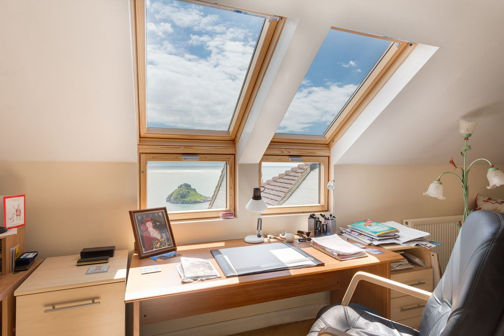 Velux Skylight Sizes with Traditional Home Office  and Beige Wall Coastal View File Cabinet Filing Cabinet Leather Desk Chair Marine Home Rolling Desk Chair Seaside Skylight Velux Windows View Wood Desk