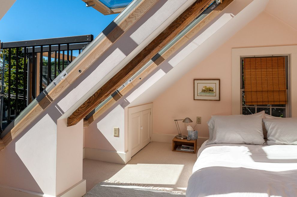 Velux Skylight Sizes with Transitional Bedroom  and Attic Bedroom Attic Room Attic Windows Beige Carpet Light Gray Bedding Light Pink Wall Natural Lighting Sunlight Vaulted Ceiling Woven Shade