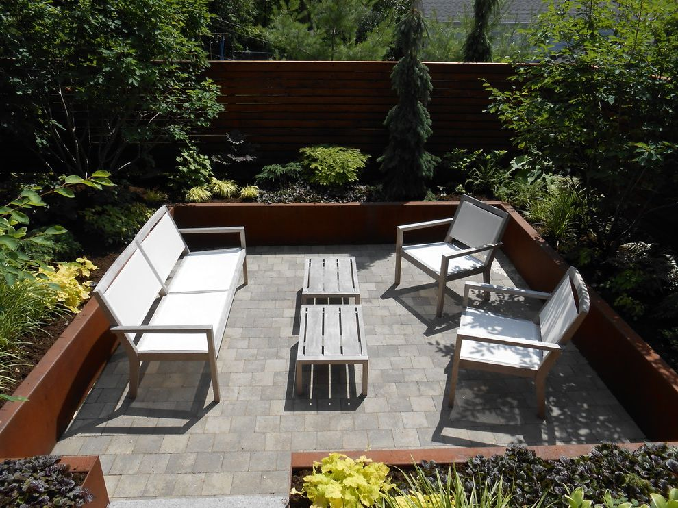 Versa Lok Colors   Modern Spaces  and Corten Steel Courtyard Modern Patio Perennial Gardens Steel Walls