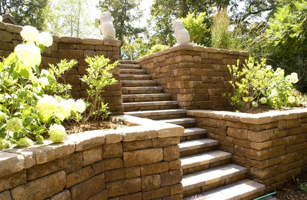Versa Lok Colors   Traditional Landscape Also Flowerbed Steps Stone Stone Step Stone Wall