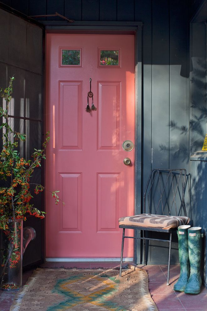 Versa Lok Colors with Shabby Chic Style Entry  and Bright Colors Charcoal Walls Door Mat Door Windows Entry Chair Front Door Orange Flowers Pink Door Porch Chair Rain Boots Raised Panel Door Rubber Boots Vertical Siding