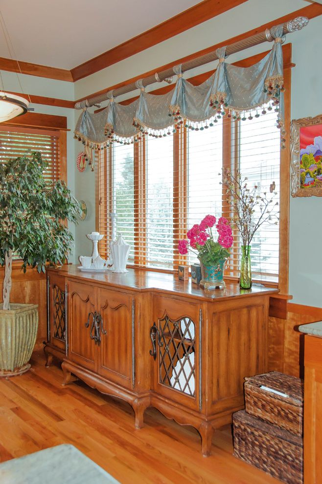 Vietri Dishes   Traditional Kitchen  and Bead and Ball Trim Tape Custom Buffet by Bausman and Co Silk Valance Silver Curtain Rods Vietri Dishes