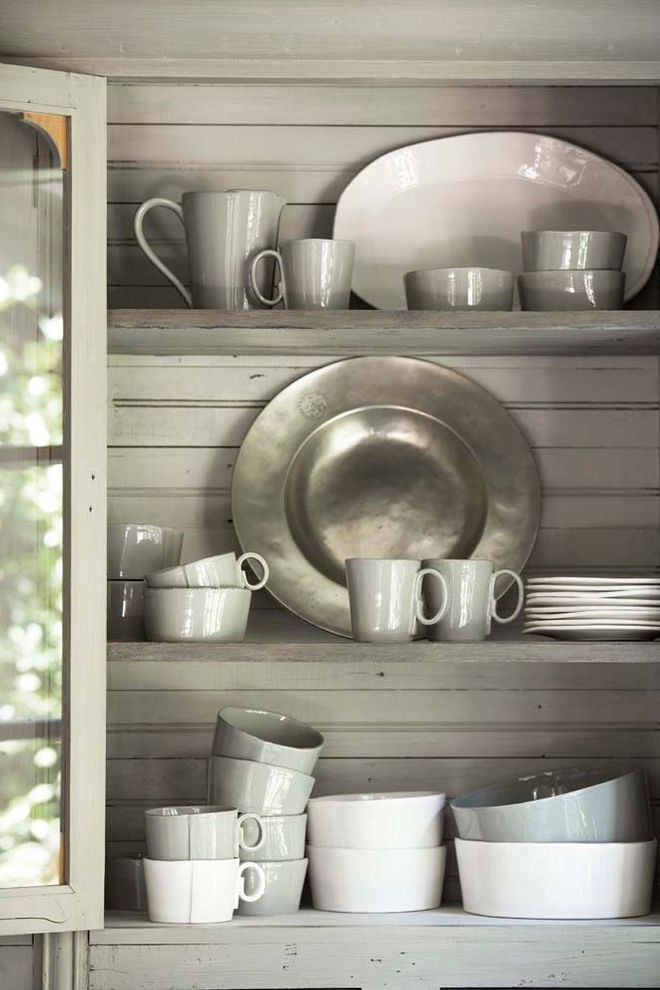 Vietri Dishes with Traditional Dining Room  and Breakfast Room Painted Buffet Pewter Storage Vietri Dinnerware