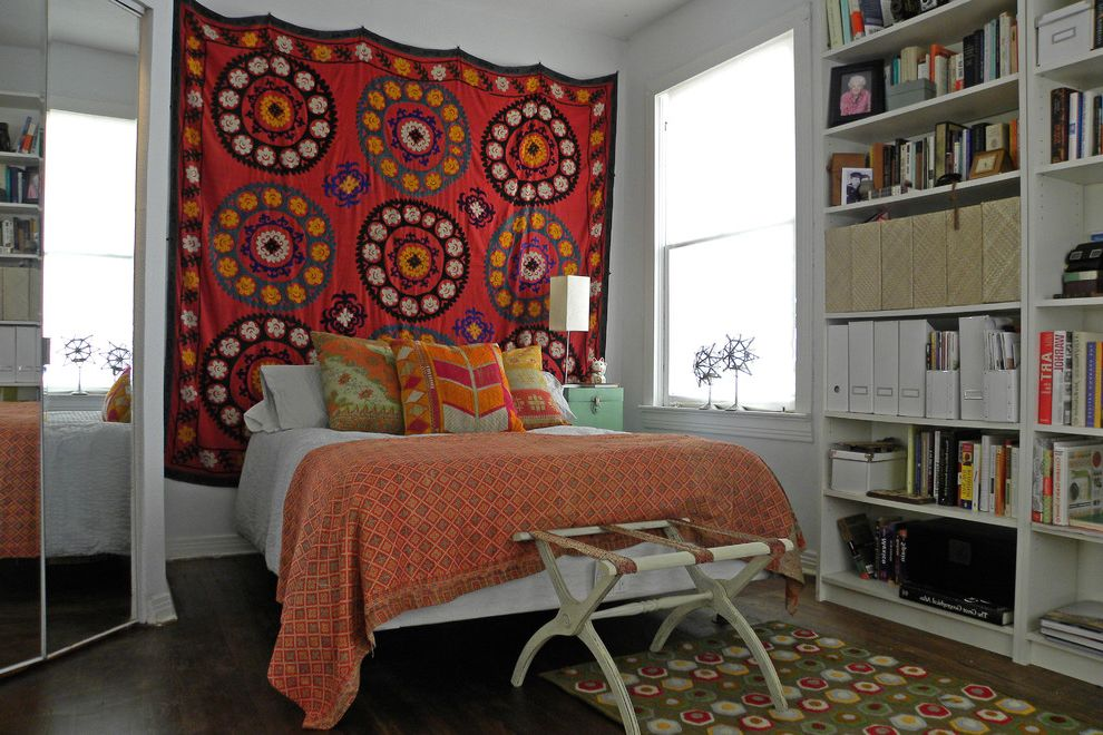 Ways to Hang Tapestry   Eclectic Bedroom Also Antique Bohemian Book Case Books Kantha Luggage Rack Mirror Pillows Suzani Throw Vintage