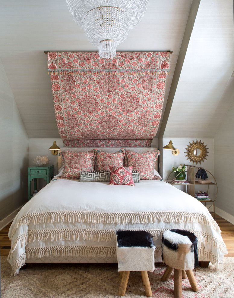 Ways to Hang Tapestry   Eclectic Bedroom  and Area Rug Bed Canopy Bolster Pillow Chandelier Cowhide Stools Crystals Euro Shams Fringe Bed Coverlette Gold Sconces Settee Side Tables Throw Pillow