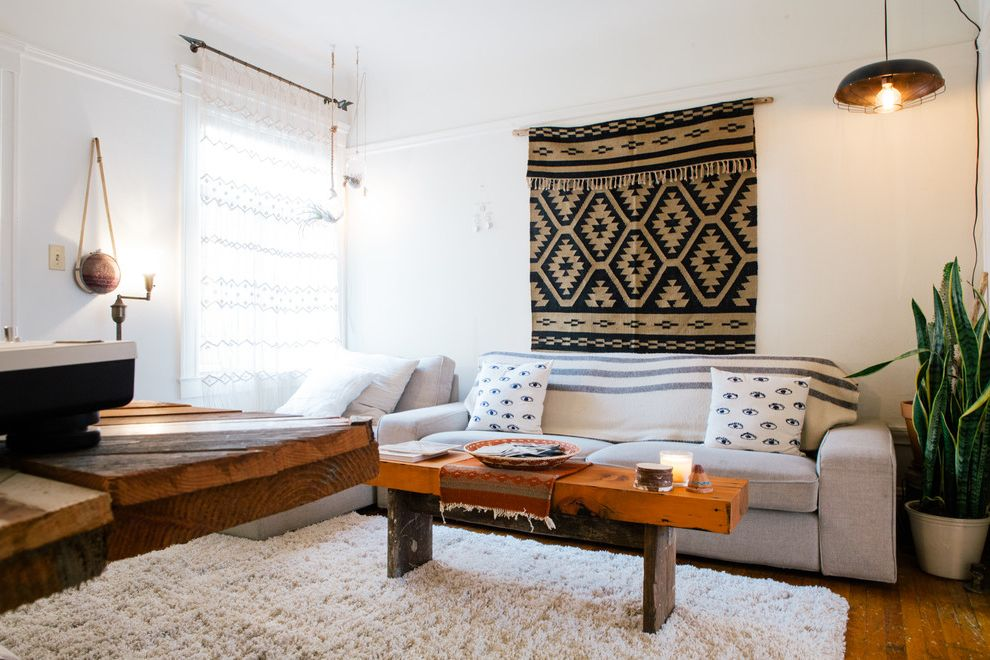 Ways to Hang Tapestry   Eclectic Living Room  and Art Midcentury Native American Blanket Southwestern Tapestry Textured Rug Vintage
