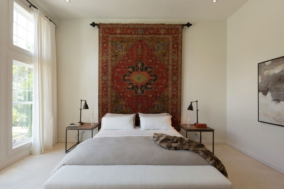 Ways to Hang Tapestry   Scandinavian Bedroom  and Carpet Floor Floor to Ceiling Windows Fur Throw Glass Wall Hanging Rug Master Bedroom Painting Side Tables Transitional Design Transom Windows White Walls White Window Treatments Woven Area Rug Hanging