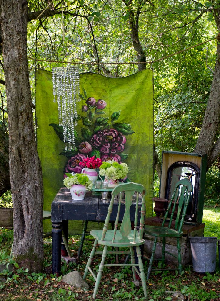 Ways to Hang Tapestry   Shabby Chic Style Landscape Also Chandelier Distressed Chair Green Chair Outdoor Furniture Outdoor Table Tapestry