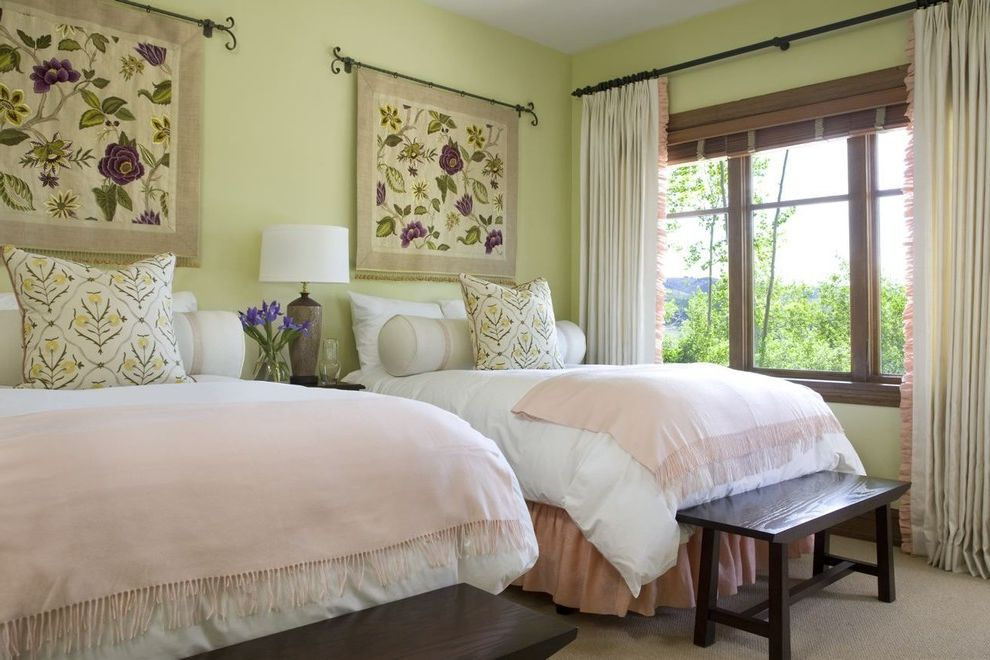 Ways to Hang Tapestry with Traditional Bedroom Also Bedding Bolster Pillows Custom Designed Curtains Dark Wood Bench End of Bed Bench Floral Tapestry Fringe Light Yellow Walls Peach Bed Skirt Peach Throw White Duvet Bedding