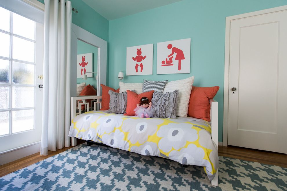 What Color is Jade   Modern Kids Also Bedding Daybed Doll Floral Comforter Frosted Glass Panel Door Geometric Area Rug Girls Room Houndstooth Mixed Patterns Orange Pillows Turquoise Painted Wall Wall Art Wall Mirror White Curtain White Trim Wood Floor
