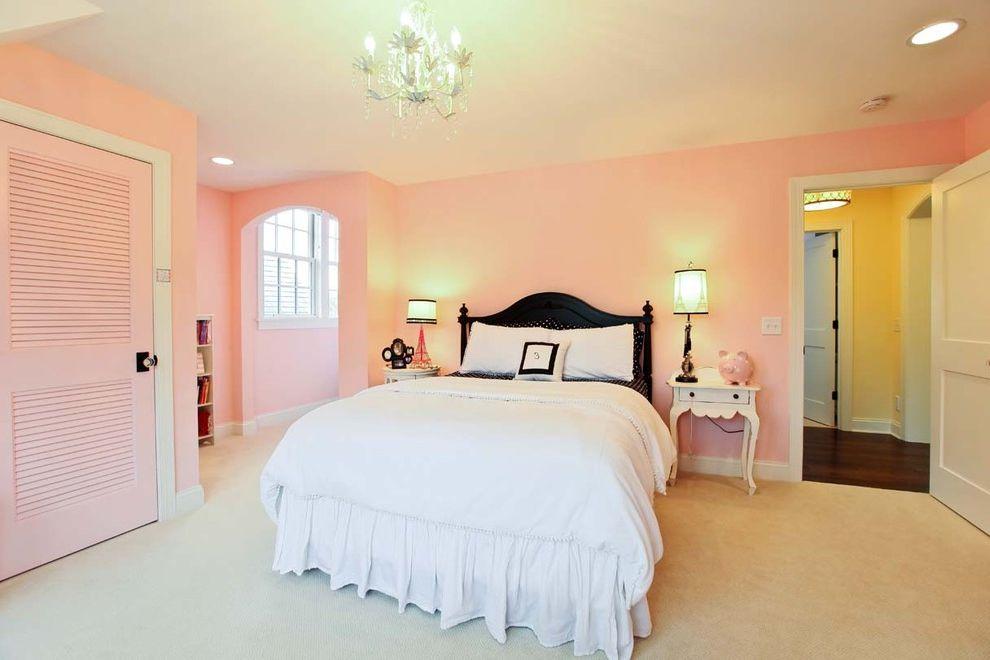What Color is Jade   Traditional Bedroom  and Ceiling Lighting Chandelier Dark Wood Headboard Girls Room Pink Bedroom Pink Closet Door Pink Walls Recessed Lighting White Bedding White Wood Wood Molding