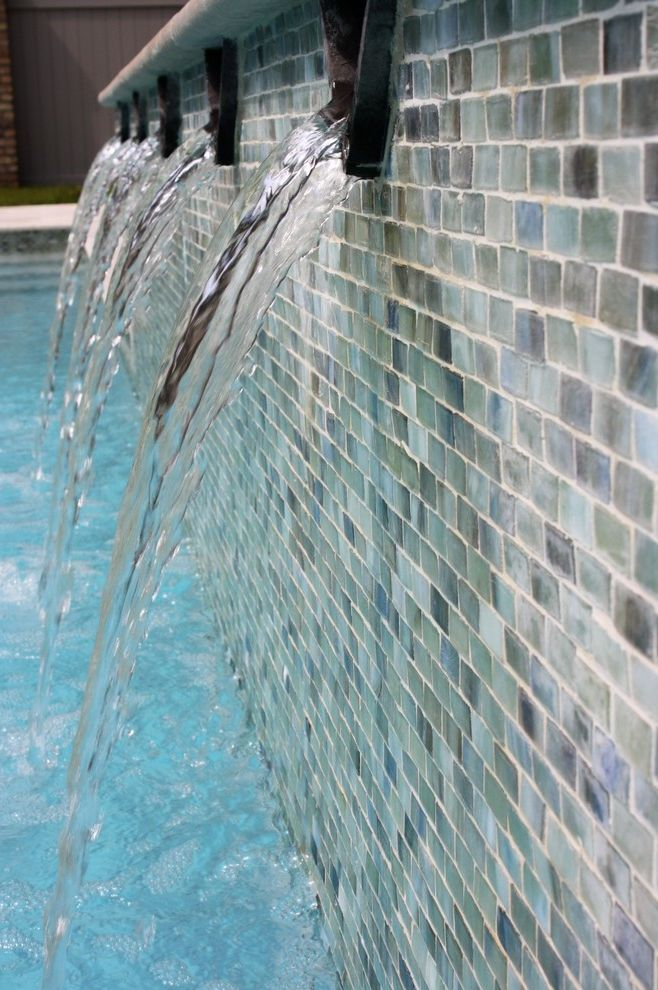 What Color is Jade   Traditional Spaces  and Honed Glass Mosaics Pool Tile Waterfall