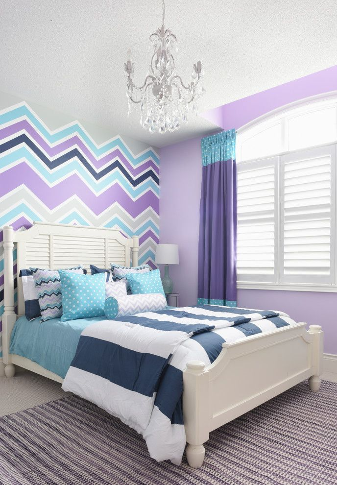 What Color is Jade with Transitional Kids  and Bedding Chandelier Chevron Colorful Curtain Fun Lavender Painted Wall Purple and Blue Striped Rug White Bed Window