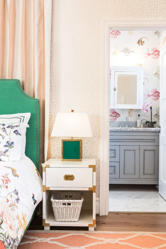 What Color is Jade with Transitional Kids  and Cheetah Wallpaper Floral Bedding Green Lamp Green Nailhead Trim Bed White Nightstand