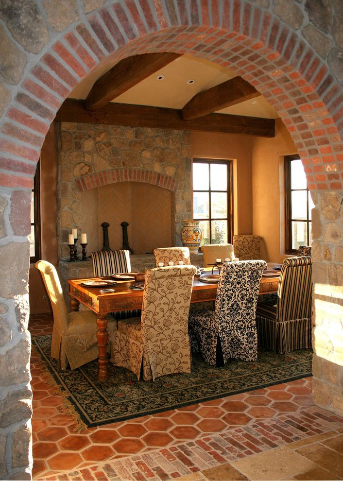 What is a Parsons Chair with Rustic Dining Room Also Andirons Archway Area Rug Exposed Beams Farmhouse Dining Table Fireplace Accessories Italian Mediterranean Rustic Slipper Chairs Table Setting Terracotta Tile Floor Tuscan Upholstered Dining Chairs